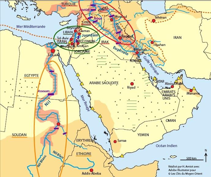Carte De Lafrique Et Moyen Orient.L Eau Au Moyen Orient Les Cles Du Moyen Orient