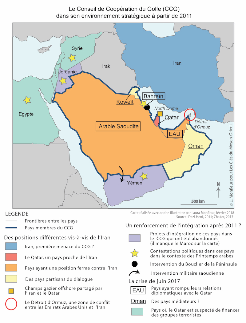 Carte Qatar Arabie Saoudite.Le Conseil De Cooperation Du Golfe Depuis 2011 Un