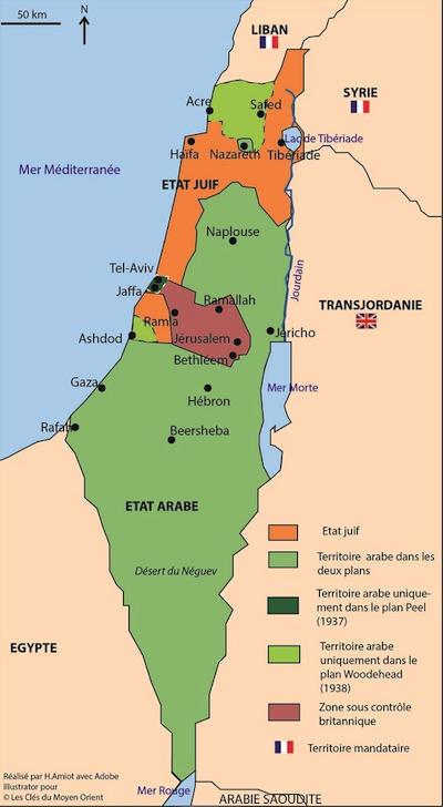 Carte Moyen Orient Palestine.Retour Cartographique Sur Le Conflit Israelo Arabe 1 2